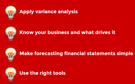 List of the actual 4 tips to efficiantly forecast financial statements