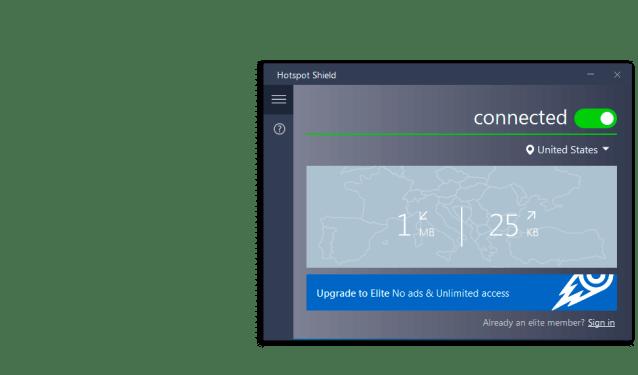 Hotspot Shield interface