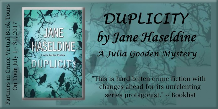 Duplicity by Jane Haseldine | Partners in Crime Virtual Book Tour Banner
