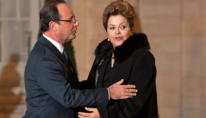 Francois Hollande and Dilma Rousseff