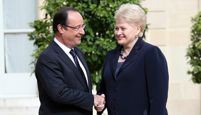 Francois Hollande and Grybauskaite