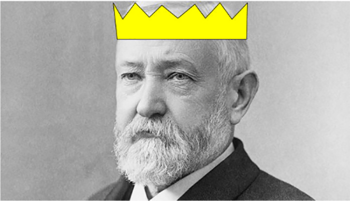 Benjamin Harrison wearing a crown