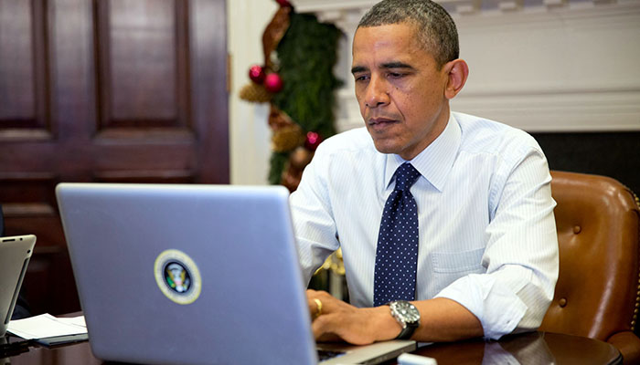 Obama using computer