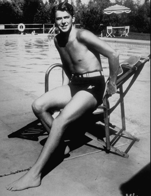 Young Ronald Reagan in a bathing suit