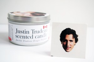 Justin Trudeau-Scented Candle, featuring a Justin Trudeau temporary tattoo
