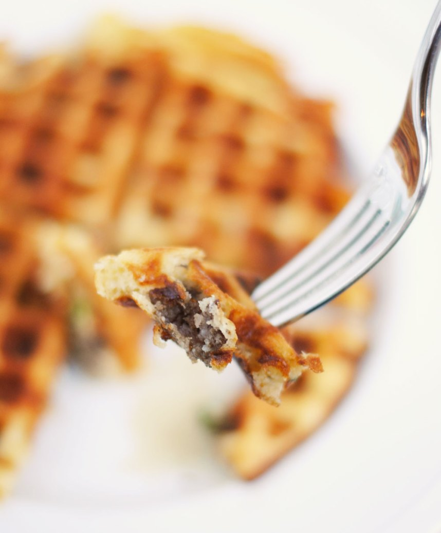 Cheddar and Sausage Waffles | Hottie Biscotti