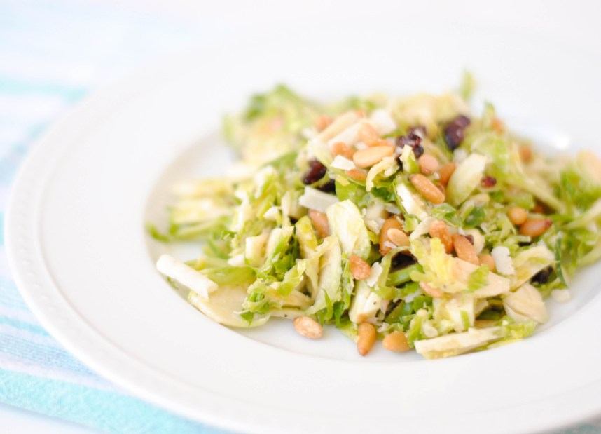 Brussels Sprout Salad with Pine Nuts and Cherries | Hottie Biscotti