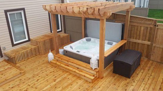 Cedar Deck Pergola With Hot Tub Hottubguys Ca