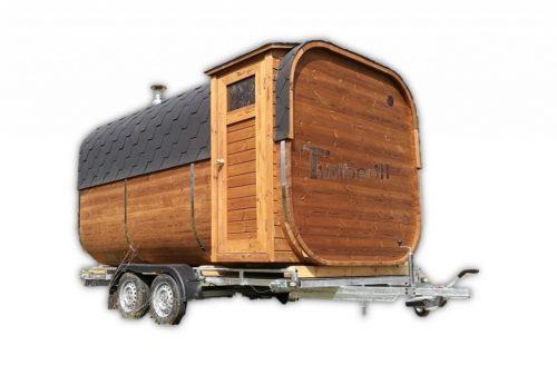 Mobiele Rechthoekige Buitensauna Op Wielen Aanhangwagen