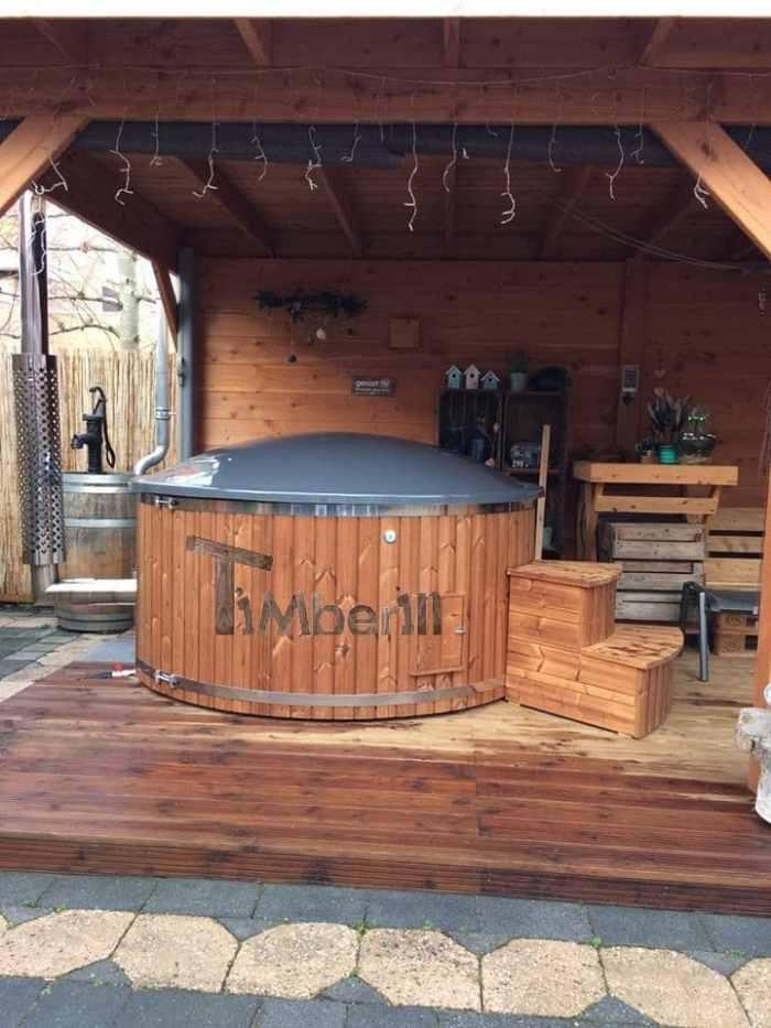 Hottub Fiberglas Met Geïntegreerde Kachel Thermohout Wellness Royal, Wilco, Belgie