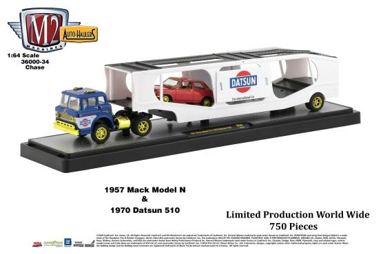M2-Machines-Auto-Haulers-34-1957-Mack-Model-1970-Datsun-510-Chase