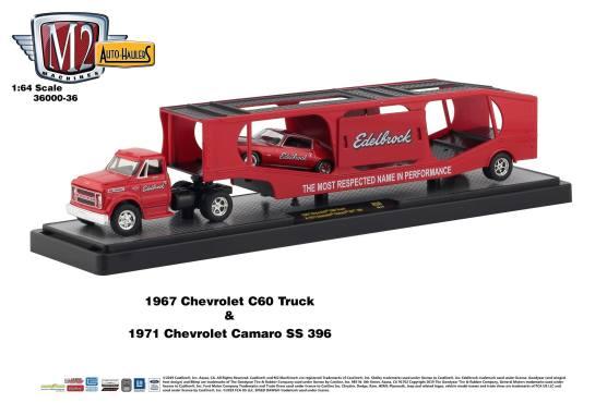 M2-Machines-Auto-Haulers-Series-36-1967-Chevrolet-60-Truck-1971-Chevrolet-Camaro-SS-396-Edlebrock