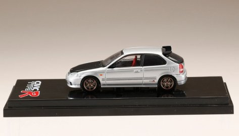 Hobby-Japan-Honda-Civic-Type-R-EK9-Custom-Version-Carbon-Bonnet-Borg-Silver-Metallic-003