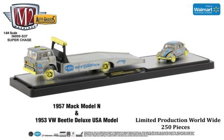 M2-Machines-Auto-Haulers-Walmart-1957-Mack-Model-N-1953-Volkswagen-Beetle-Deluxe-USA-Model-Super-Chase