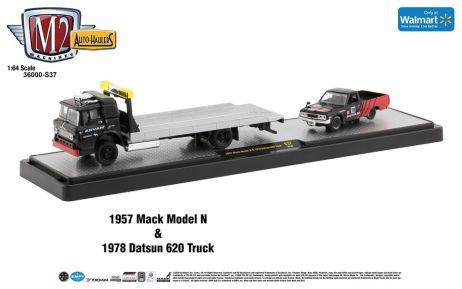 M2-Machines-Auto-Haulers-Walmart-1957-Mack-Model-N-1978-Datsun-620-Truck