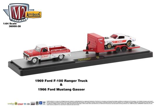 M2-Machines-Auto-Haulers-release-38-1969-Ford-F-100-Ranger-Truck-1966-Ford-Mustang-Gasser