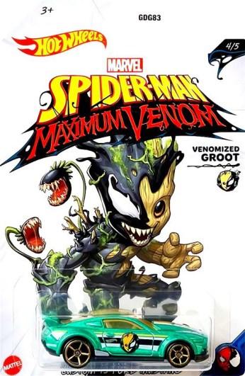 Hot-Wheels-Marvel-Spider-Man-Maximum-Venom-Custom-15-Ford-Mustang-Venomized-Groot