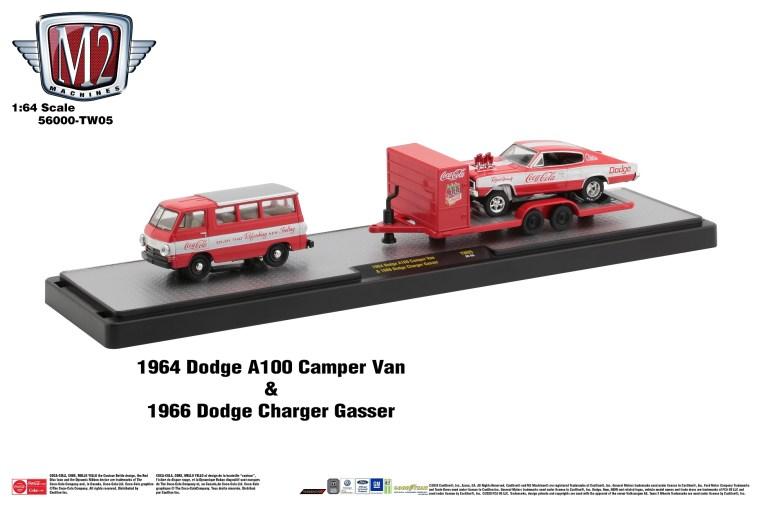 M2-Machines-Coca-Cola-Auto-Haulers-1964-Dodge-A100-Camper-Van-1966-Dodge-Charger-Gasser-Coca-Cola