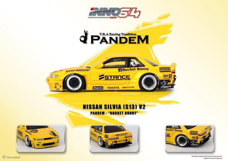 Inno64-Nissan-Silvia-S13-Pandem-Rocket-Bunny-V2-yellow