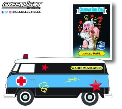 GreenLight-Collectibles-Garbage-Pail-Kids-Series-3-1965-Volkswagen-Panel-Van-Ambulance-Mauled-Paul