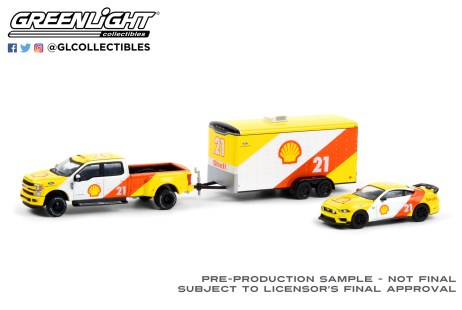 GreenLight-Collectibles-Racing-Hitch-and-Tow-Series-3-2019-Ford-F-350-Lariat-2021-Ford-Mustang-Mach-1-Shell-Oil