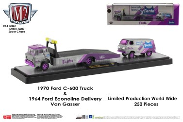 M2-Machines-Coca-Cola-haulers-1970-Ford-C600-Ramp-truck-1964-Ford-Econoline-Delivery-Van-Gasser-Fanta-Super-Chase