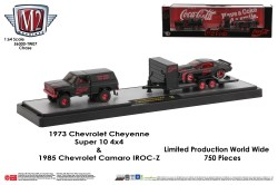 M2-Machines-Coca-Cola-haulers-1973-Chevy-Cheyenne-Super-10-4X4-1985-Chevy-Camaro-IROC-Z-Coca-Cola-Chase