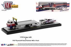 M2-Machines-Auto-Haulers-Series-43-1970-Dodge-L600-VP-Racing-1960-Plymouth-Road-Runner-440-6-Pack
