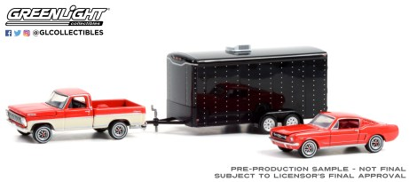 GreenLight-Collectibles-Hollywood-Hitch-and-Tow-Series-9-The-Cars-That-Made-America-Ford-F-100-Ford-Mustang-Fastback