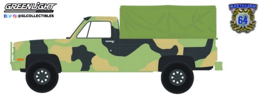 GreenLight-Collectibles-Battalion-64-Series-1-1984-Chevrolet-M1008-CUCV-Camouflage-with-Cargo-Cover