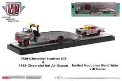 M2-Machines-Coca-Cola-Auto-Haulers-1958-Chevrolet-Spartan-LCF-1955-Chevrolet-Bel-Air-Gasser-Super-Chase