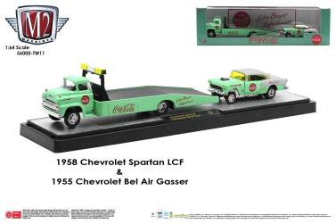 M2-Machines-Coca-Cola-Auto-Haulers-1958-Chevrolet-Spartan-LCF-1955-Chevrolet-Bel-Air-Gasser