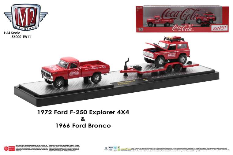 M2-Machines-Coca-Cola-Auto-Haulers-1972-Ford-F-250-Explorer-4x4-1966-Ford-Bronco