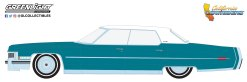 GreenLight-Collectibles-California-Lowriders-Series-1-1973-Cadillac-Sedan-deVille-Teal-with-White-Roof