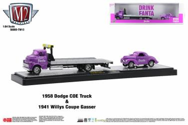 M2-Machines-Coca-Cola-Auto-Haulers-Release-TW13-1958-Dodge-COE-Truck-1941-Willys-Coupe-Gasser