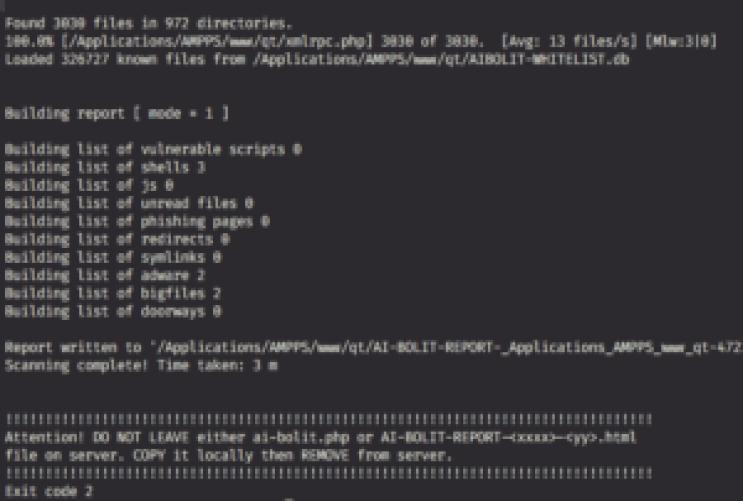 comment nettoyer fichiers infectés PHP AI-BOlit