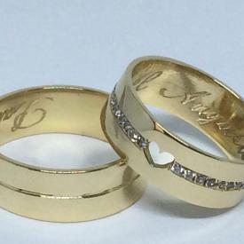 Par de Alianças Ouro 18k Casamento Coração 7mm 14g Reta