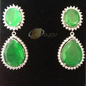 Brinco de Prata Gota Verde com Brilhantes