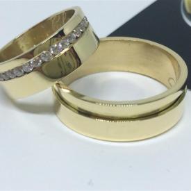 Par de Alianças Ouro 18k Casamento 7.5mm 18g Reta Polida