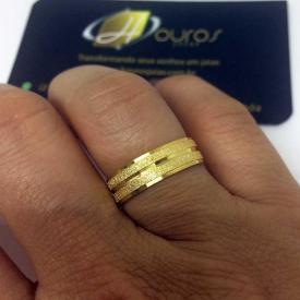 Par de Alianças Casamento 6mm 7g Diamantada Ouro 18k