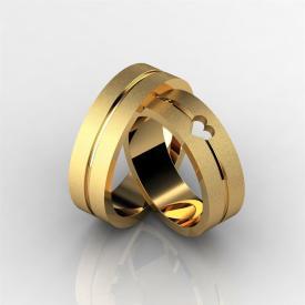 Par de Alianças Diamantada Coração Vazado Ouro 18k