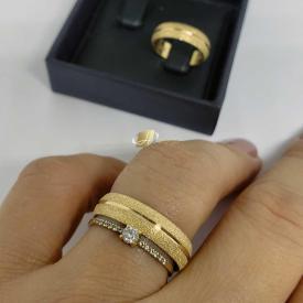 Par de Alianças Ouro 18k Boleada Diamantada 5mm 7g
