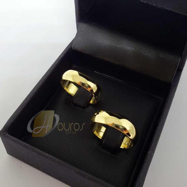Par de Alianças Ouro 18k Casamento 5mm 10g Reta Brilhantes