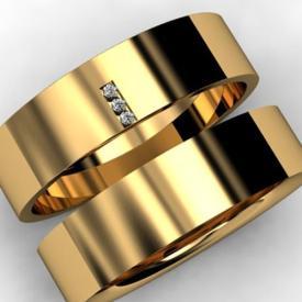 Par de Alianças Reta Polida 3 Brilhantes Ouro 18k 7mm 14g
