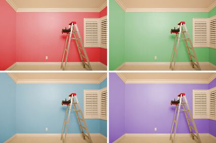 Choosing Interior Paint Colors 1 room  4 different paint colors