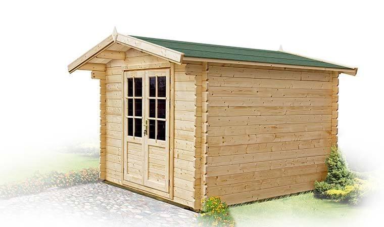 chalet jardin madriers de bois toit shingle 6m2 olivier