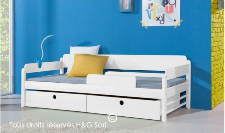 lit enfant 90x200 en pin laque blanc 2 tiroirs funky