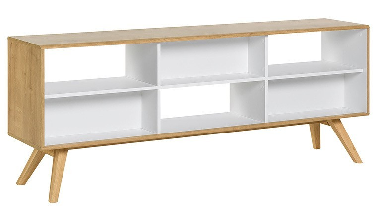 bibliotheque basse scandinave double face nature