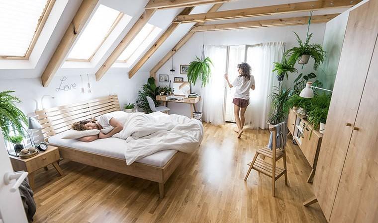 lit avec tete de lit design couleur chene nature 2
