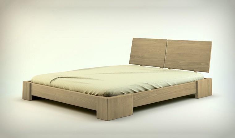 lit double en bois massif hetre indigo